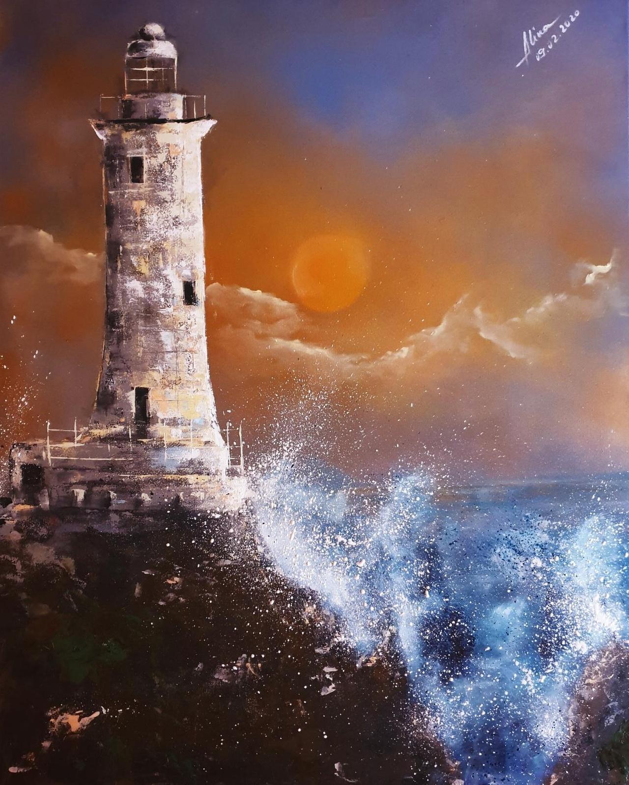ArteDiAlina.com painting: La Corbière at windy sunset