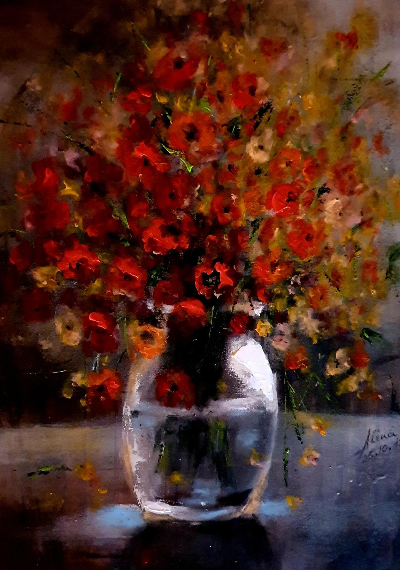 ArteDiAlina.com painting: wild field flowers